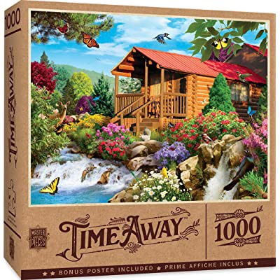 MasterPieces Time Away - Cascading Cabin 1000-Piece Jigsaw Puzzle: Toys & Games