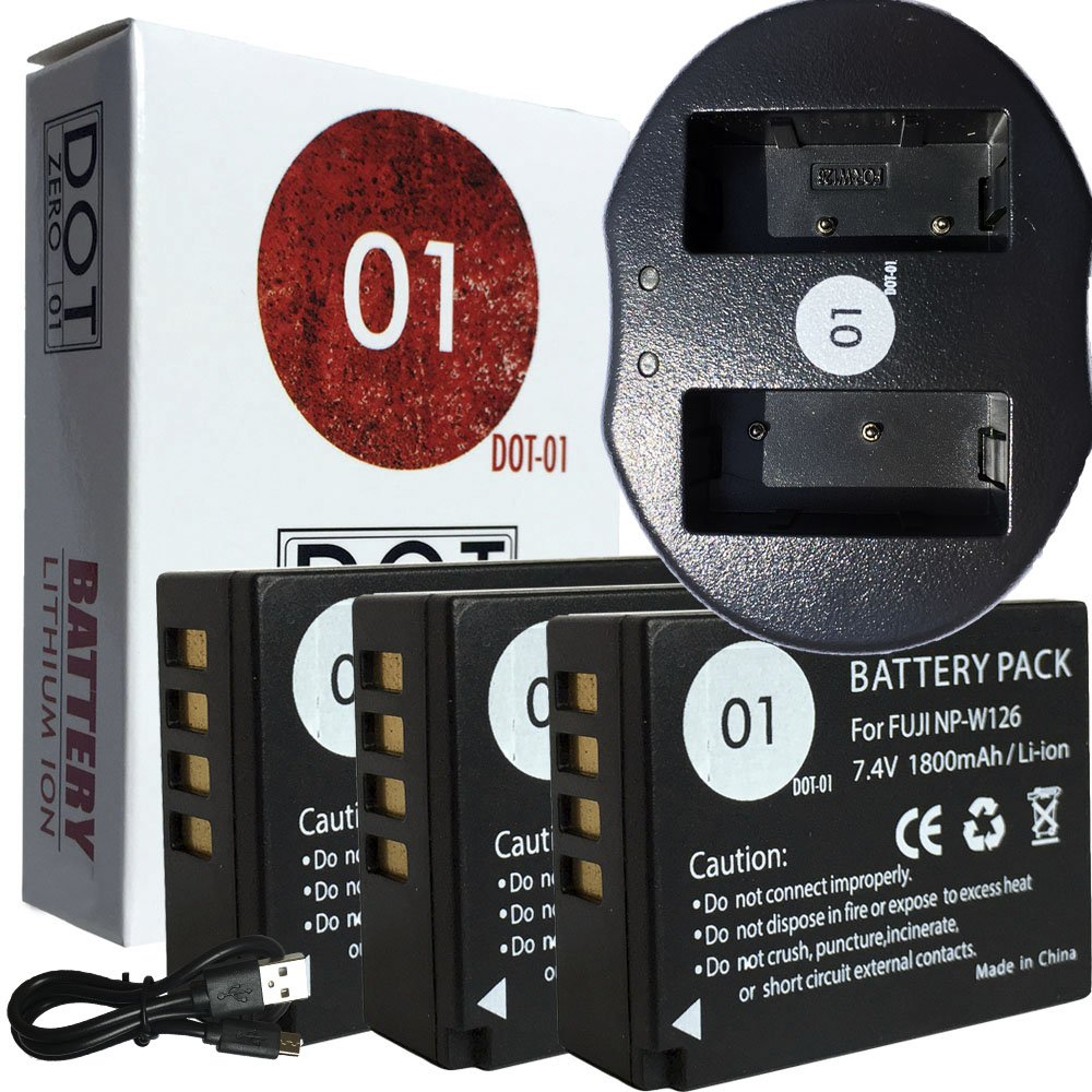 DOT-01 3x Brand Fujifilm X-A5 Batteries and Charger for Fujifilm X-A5 Mirrorless and Fujifilm X-A5 Battery and Charger Bundle for Fujifilm NPW126 NP-W126