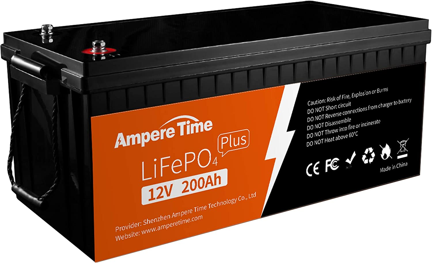 Ampere Time 12V 200Ah 2560W Power  Lithium LiFePO4  Deep Cycle Rechargeable Battery, Built-in 200A BMS,400A Max, 4000~8000 Cycles, Perfect for Solar Home, RV/Camping, Off-Grid Applications
