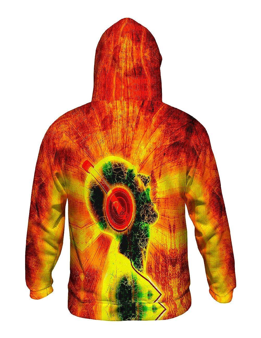 Allover Print Yizzam Mens Hoodie Sweater EDM Blazing Music Orange