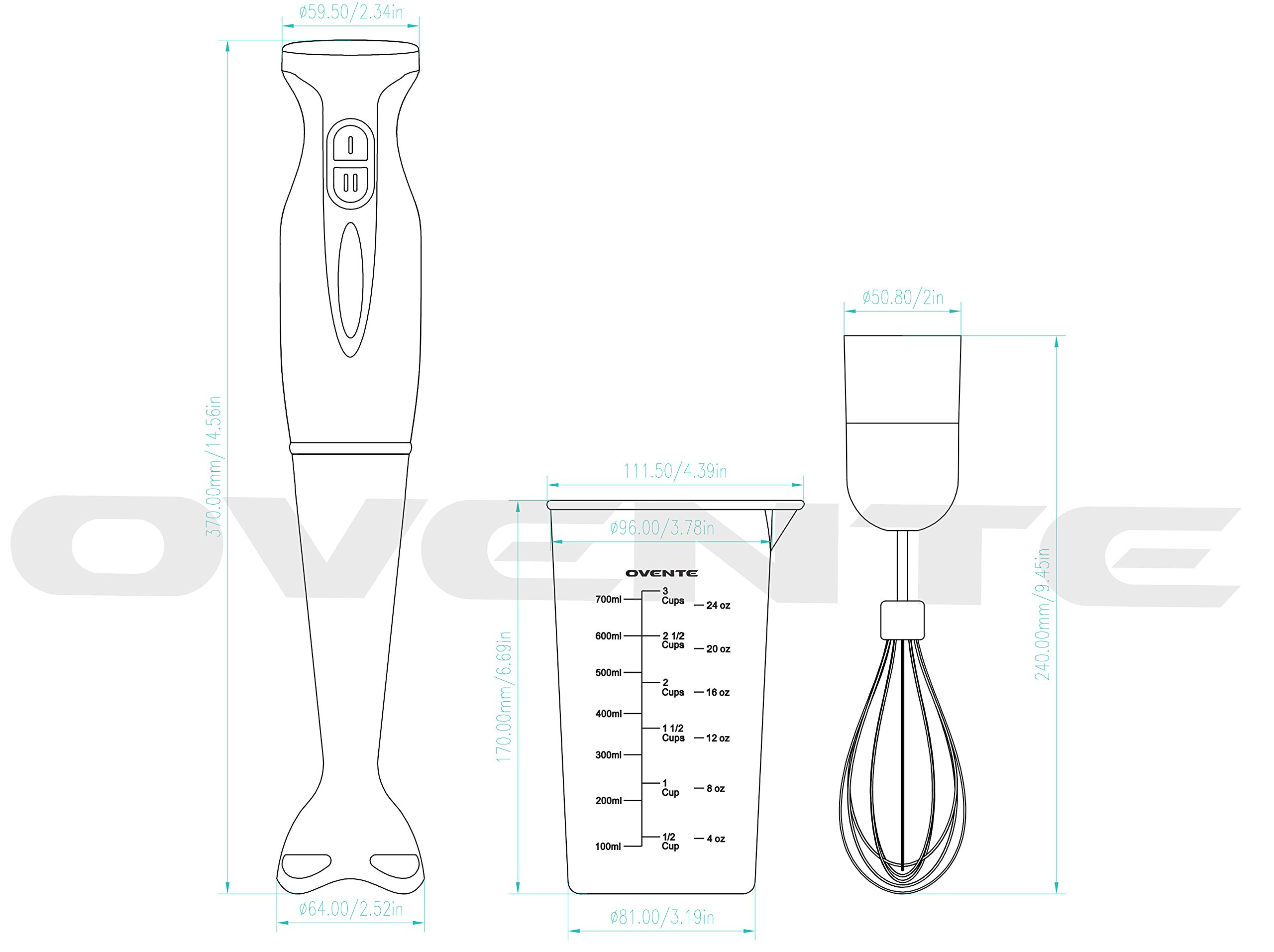 Ovente Multi-Purpose Immersion Hand Blender Set – 300-Watts, 2-Speed – Stainless Steel Blades and Detachable Shaft – Includes Egg Whisk and BPA-Free Beaker (24 oz) – Red (HS583R)