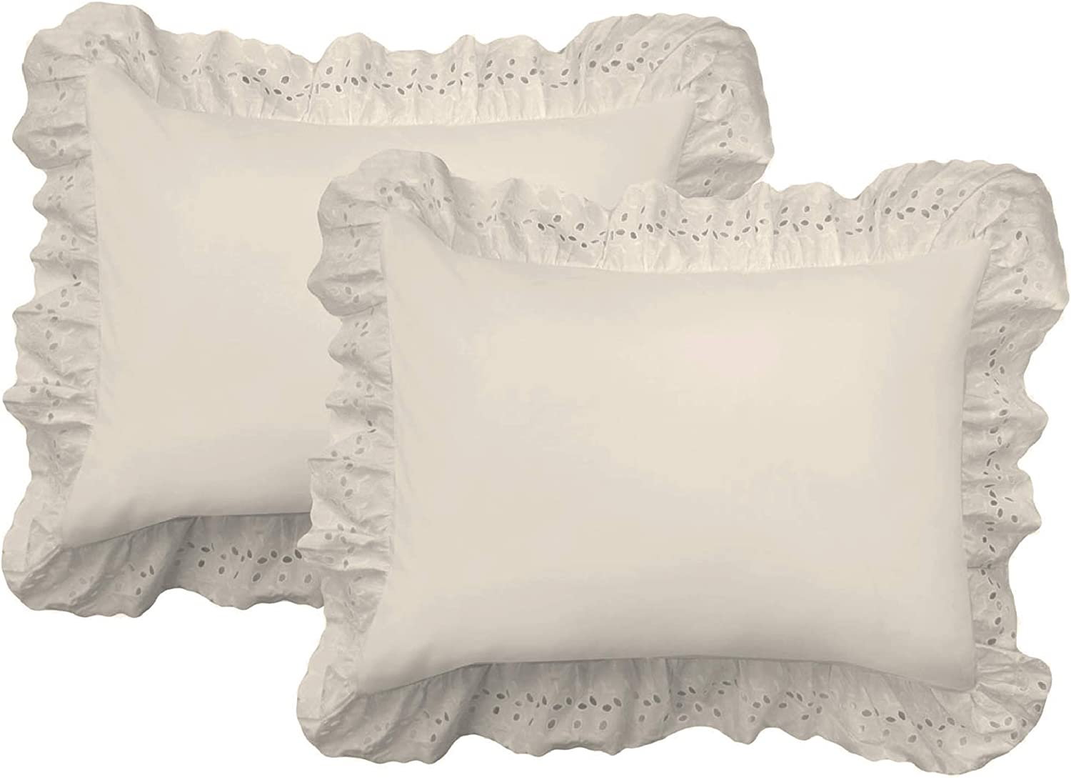 FRESH IDEAS Ruffled Bed Pillow Embroidered Detail Eyelet Shams Set, 2-Pack, Standard, Ivory