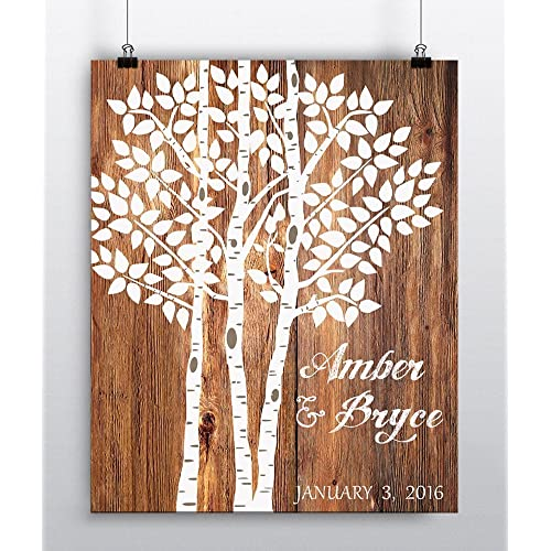 Wedding Tree Print - Wedding Guest Book Alternative - Personalized Art Poster - Wedding Decor Paper