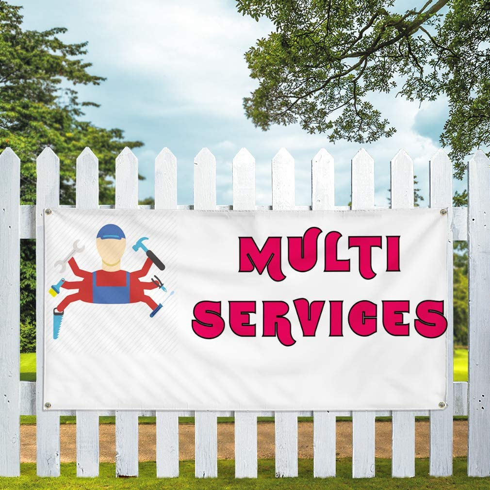 Vinyl Banner Multiple Sizes Multi Services A Advertising Printing Business Outdoor Weatherproof Industrial Yard Signs 10 Grommets 60x144Inches