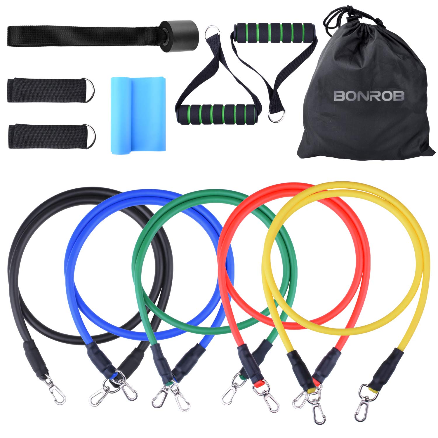 BONROB Resistance Band Set w/ 5 Bands Waterproof Bag Door Anchor Legs Ankle Straps BC007