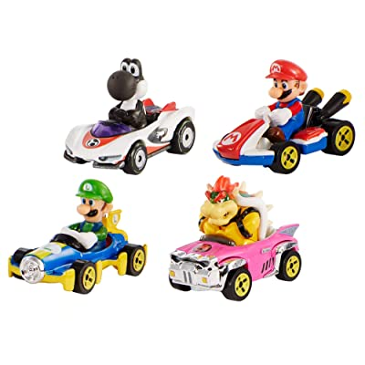 Hot Wheels Mario Kart Characters and Karts as Die-Cast Cars: Toys & Games