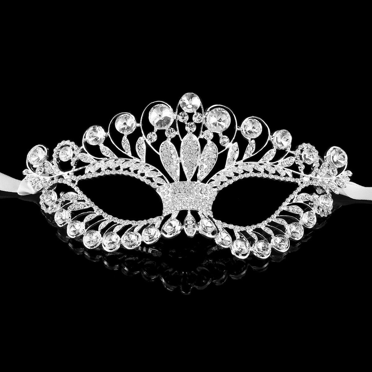 Stuffwholesale Party Dance Silver Mask Crystal Rhinestone Masquerade Eyemask (#5)