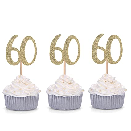 Cool Set Of 24 Golden 60Th Birthday Number 60 Cupcake Toppers Funny Birthday Cards Online Bapapcheapnameinfo