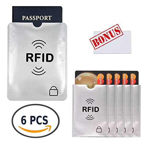6 RFID Blocking Sleeves, 5 Credit Card Holders & 1 Passport Protectors, Premium Slim Anti Identity Theft Protection Travel Case Set. Prevent Fraud, Identity Theft and Accidental and Clash Payments, Protection Smart Holders Fit Wallet, Purse & Cell Phones by Smilice
