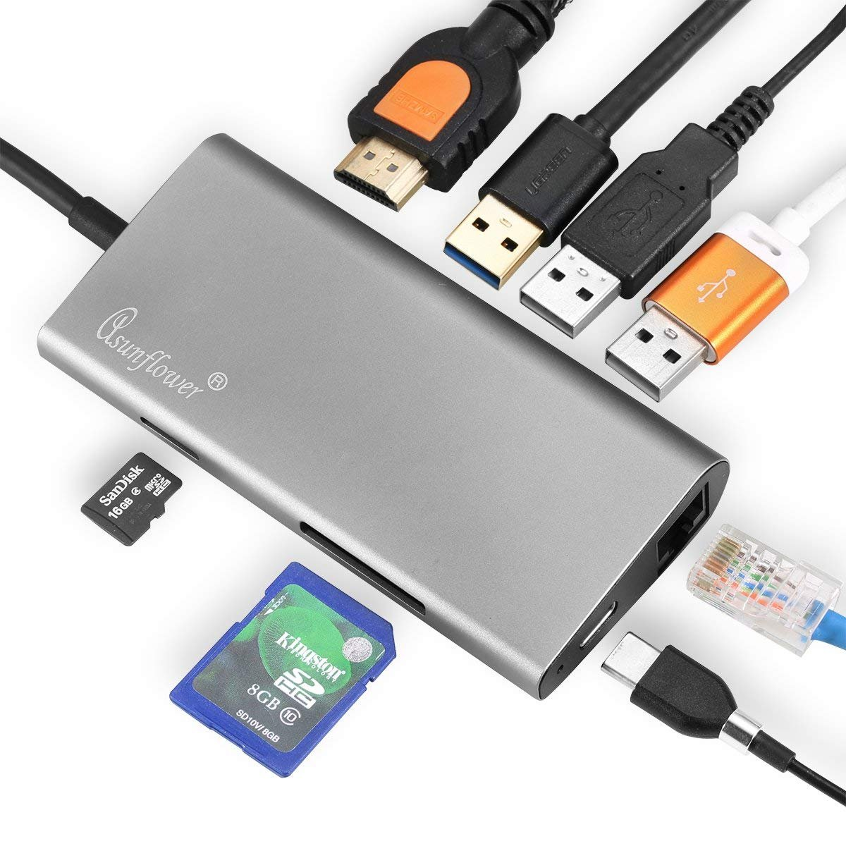 Asunflower USB C Hub, 8 in 1 Multi Port Adapter Type C to HDMI, USB 3.0 Ports, SD Card Reader, Ethernet Port, Type-C PD Charging Port, Combo Hub for MacBook Pro, Chromebook and USB C Devices
