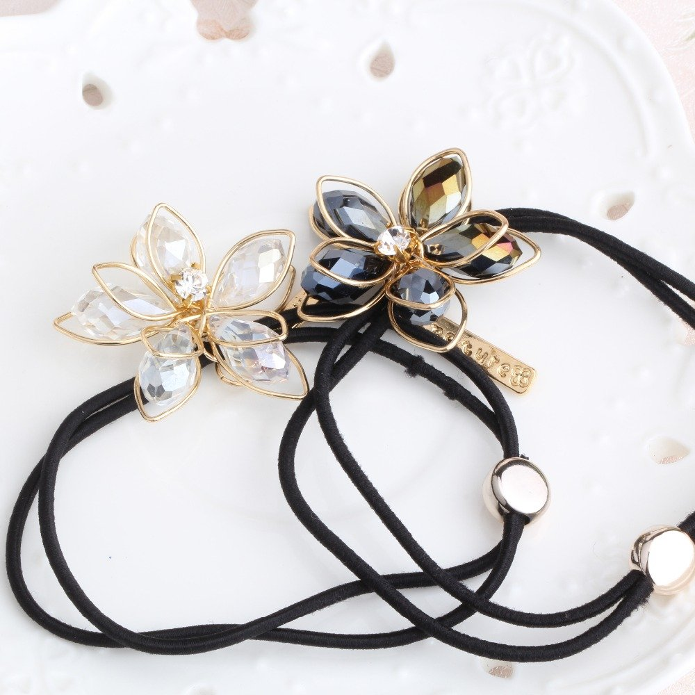 Pyrsun(TM) Girl Metal Crystal Flower Headbands Hair Accessories Elastic Rope Rubber Band Girls Gum For Hair Women Floral Elastic Hair Bands
