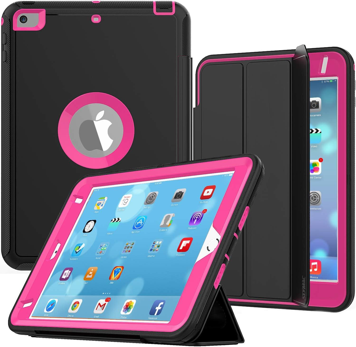 iPad Mini 4/5 Case, iPad Mini 4th/5th Generation Cases, SEYMAC Shockproof Heavy Duty Drop Protection Rugged Protective Case with Smart Auto Wake/Sleep Cover for 7.9 inch iPad Mini 4/5 Gen(Black/Rose)