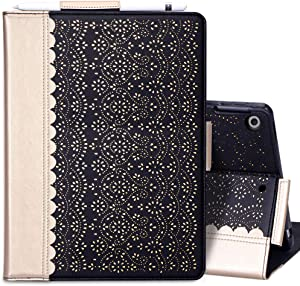 """WWW Case for New iPad 8th Gen (2020) / 7th Generation (2019) 10.2"""",[Luxury Laser Flower] Case with [Apple Pencil Holder] [Auto Wake/Sleep] for iPad 10.2 inch 8th Generation /7th Generation Black"""