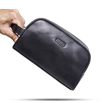 Image Unavailable. Image not available for. Color  Contacts Genuine Leather  Zipper Toiletry Bag Dopp Kit Small Travel Bag Black 49c5971791a82