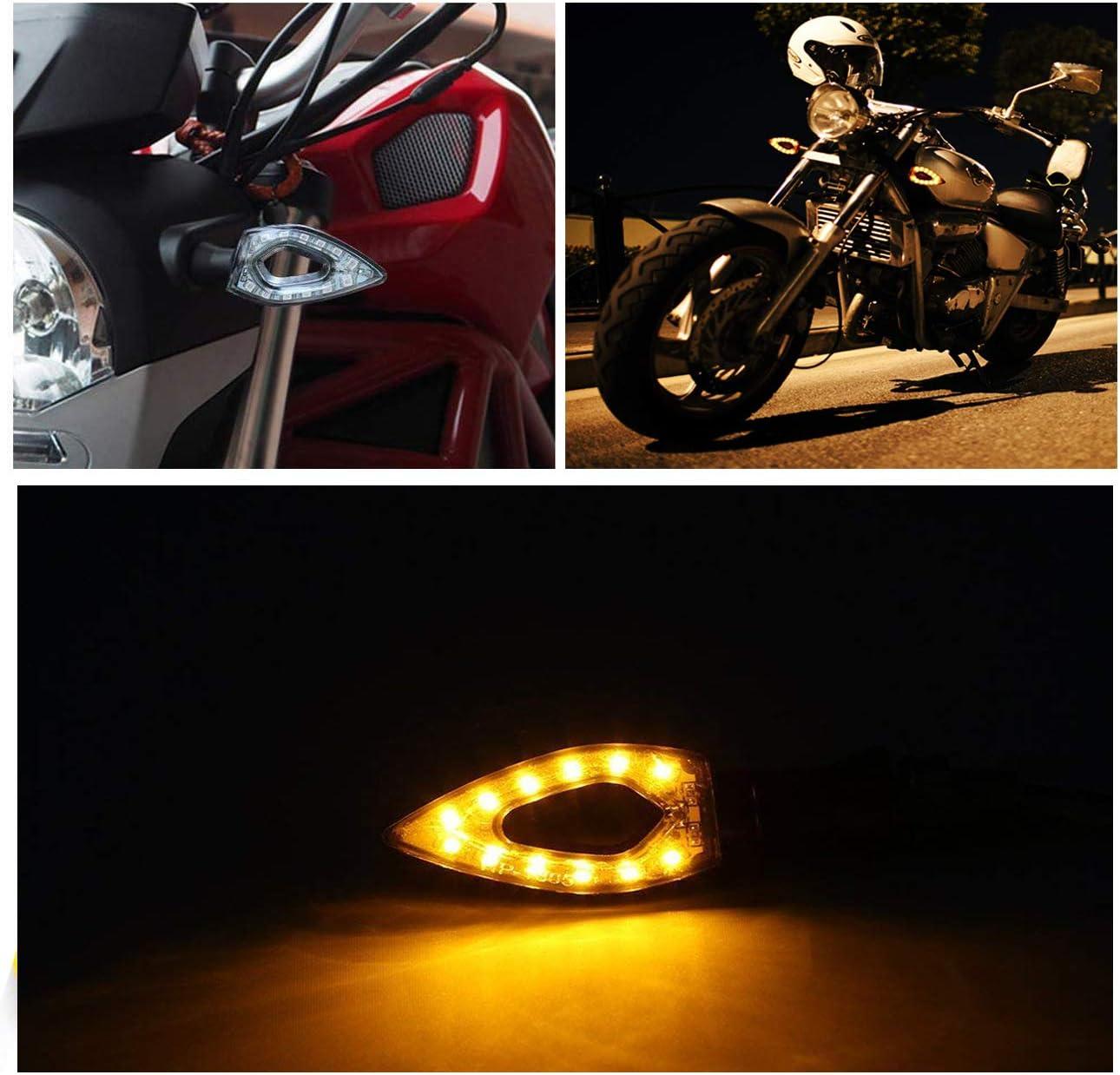 MOTL Motorcycle Turn Signals Lights 12V Universal Motorbike Turn Signal Indicator Blinker Amber Light Lamp for Yamaha Honda Suzuki Kawasaki 2 PCS