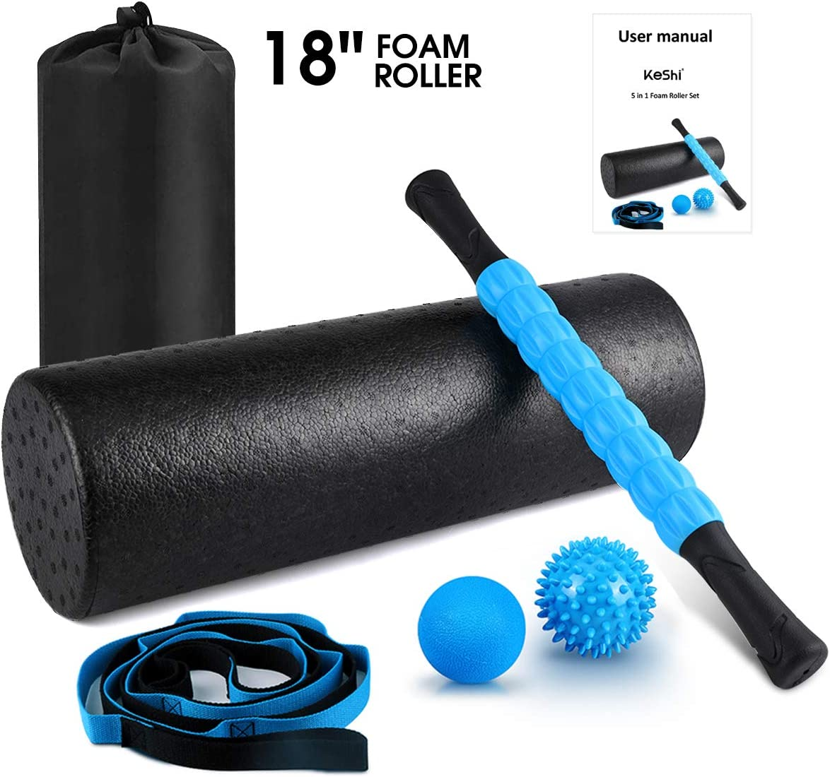 KeShi Foam Roller Set, 18 Muscle Foam Roller, 17 Massage Roller Stick, Spiky Massage Ball, Solid Ball, and Stretching Strap, Perfect for Pain Tightness Relief Home Gym Set