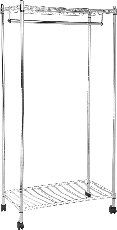 AmazonBasics - Perchero con estantes superior e inferior (cromado)