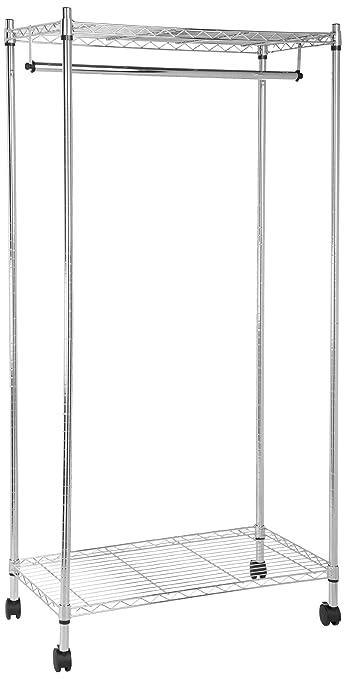 192 opinioni per AmazonBasics- Appendiabiti con ripiano superiore e alla base, cromato