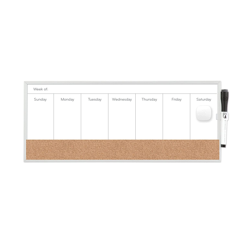 U Brands 362U00-04 Magnetic Dry Erase/Cork Weekly Calendar Board, 18 X 7.5-Inch, Silver Aluminum Frame