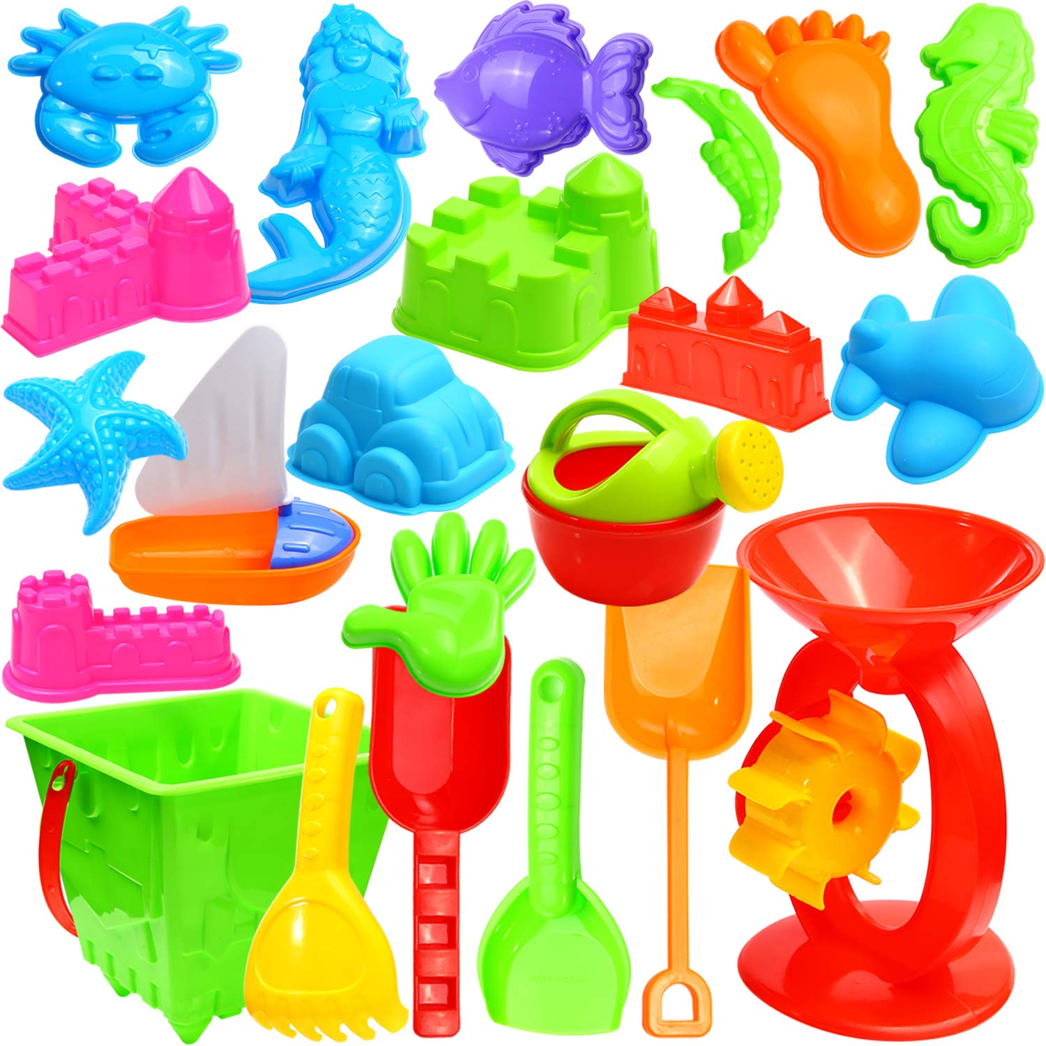 Ohuhu 22 Pcs Beach Sand Toys Set, Beach Toys with Zippered Bag, Include Beach Molds, Sand Molds, Bucket, Beach Shovel Tool Kit, Sand Water Wheel, Animals, Castle, for Toddlers, Kids, Children Outdoor by Ohuhu