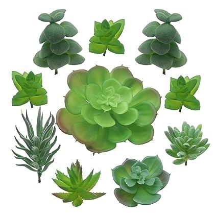 PietyDeko Suculentas falsas, 10pcs Verde suculentas artificiales y ornamentos de plantas de cactus para la