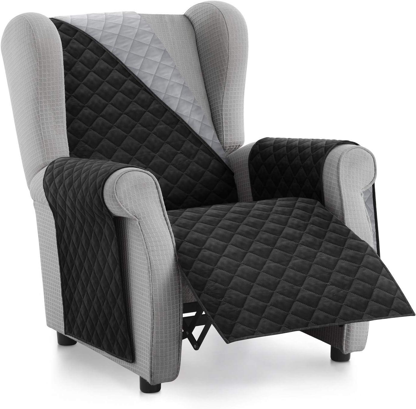 Textilhome - Funda Cubre Sofá Malu -1 Plaza - Relax - Protector para Sofás Acolchado Reversible. Color Negro