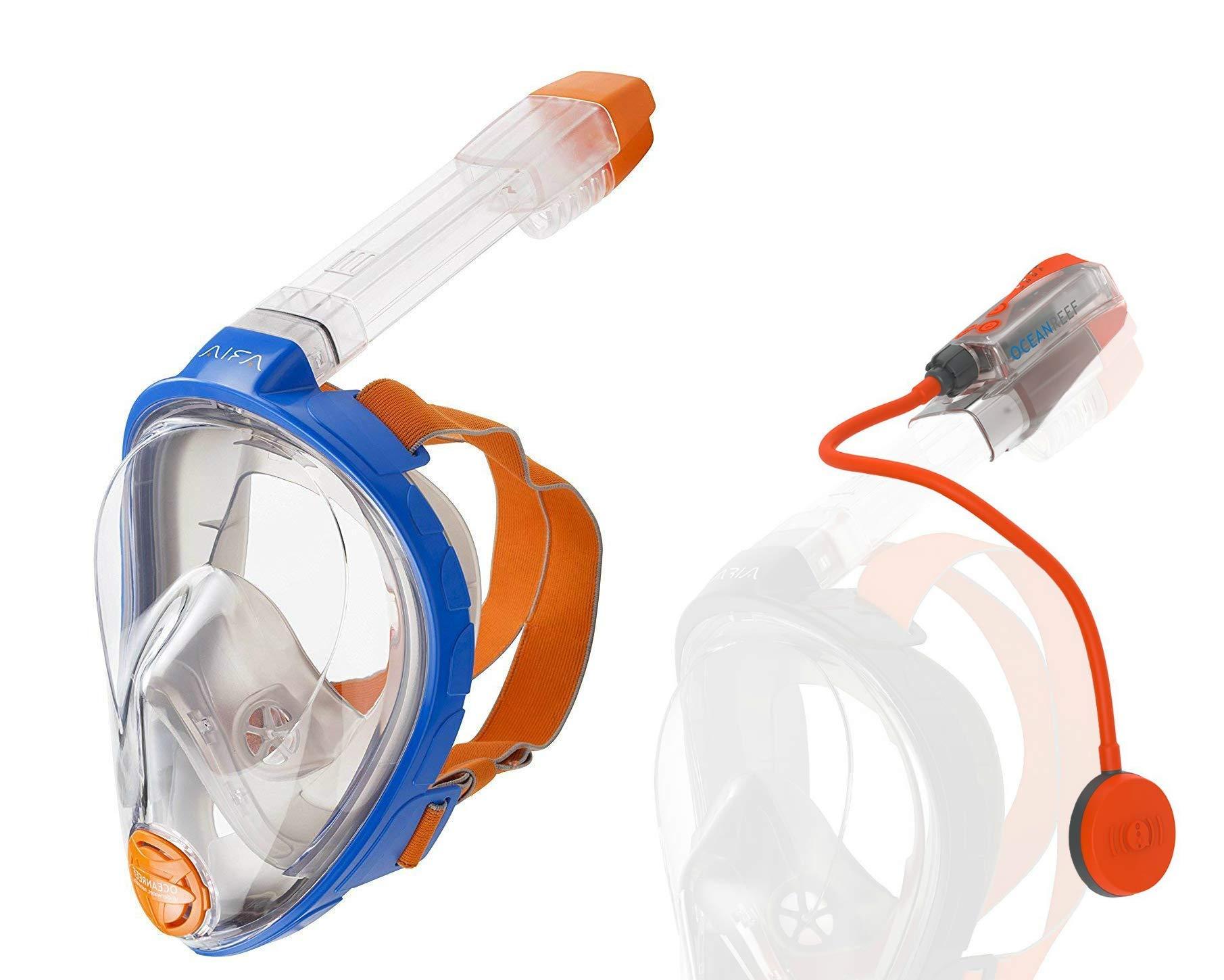 Ocean Reef Snorkie Talkie Aria Mask System (Blue, Large/Extra Large)