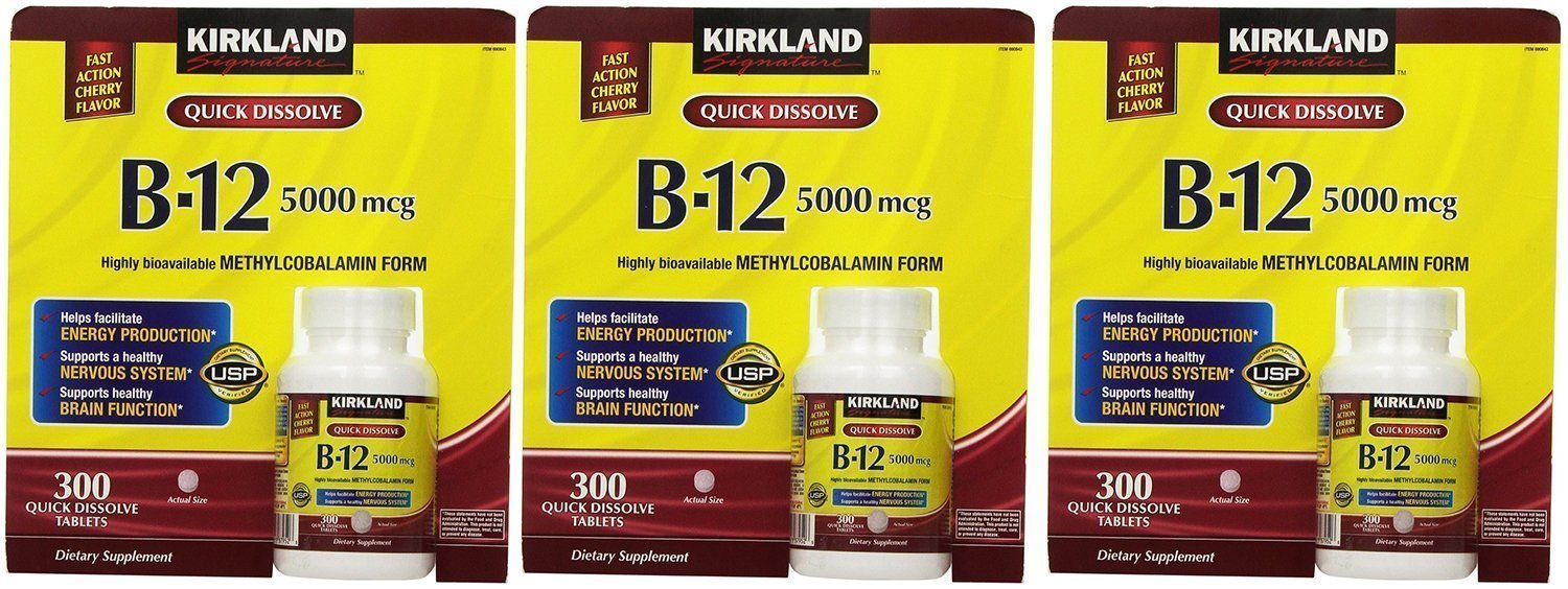 Kirkland Signature Sublingual B-12 5000 mcg, 300 Tablets , Pack of 3