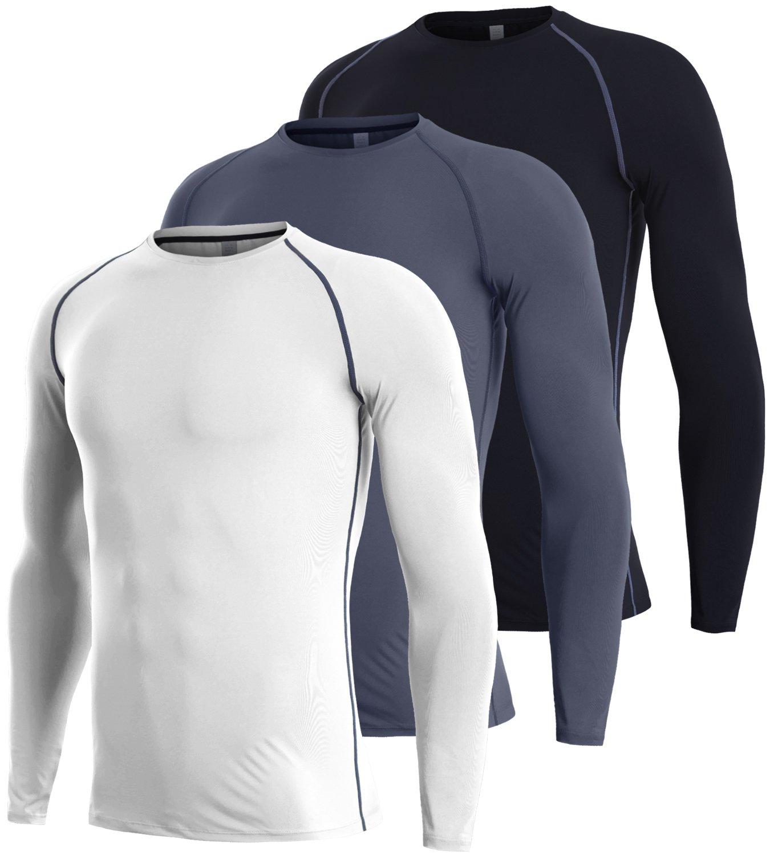 Lavento Mens Compression Shirts Long-Sleeve Dri Fit Workout Undershirts