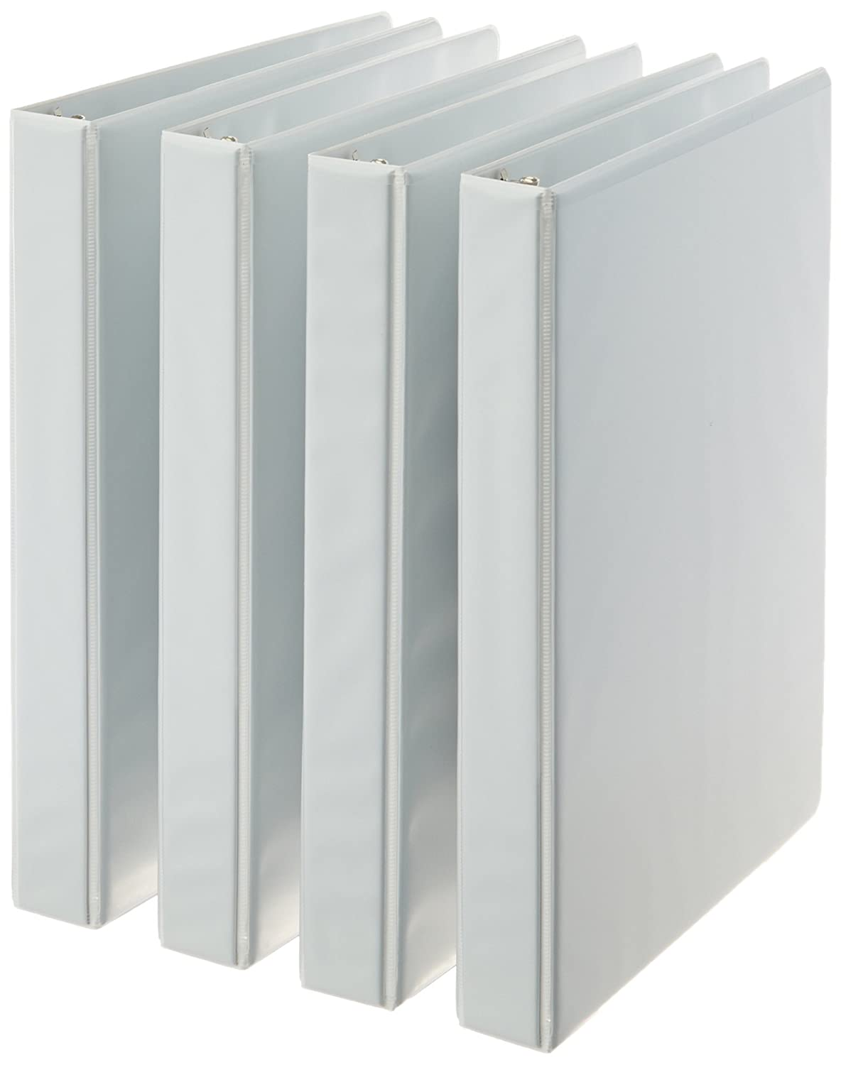 AmazonBasics 3-Ring Binder, 2 Inch - 4-Pack (White) B0050LDFNQ-WT
