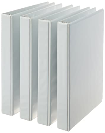 AmazonBasics 3-Ring Binder, 1 Inch - 4-Pack (White)...