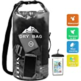 HEETA Waterproof Dry Bag 10L/20L, Roll Top Lightweight Floating Sack Keeps Gear Dry for Boating, Hiking, Kayaking, Fishing, Camping, Swimming, Boating and Other Outdoor Activities, Transparent