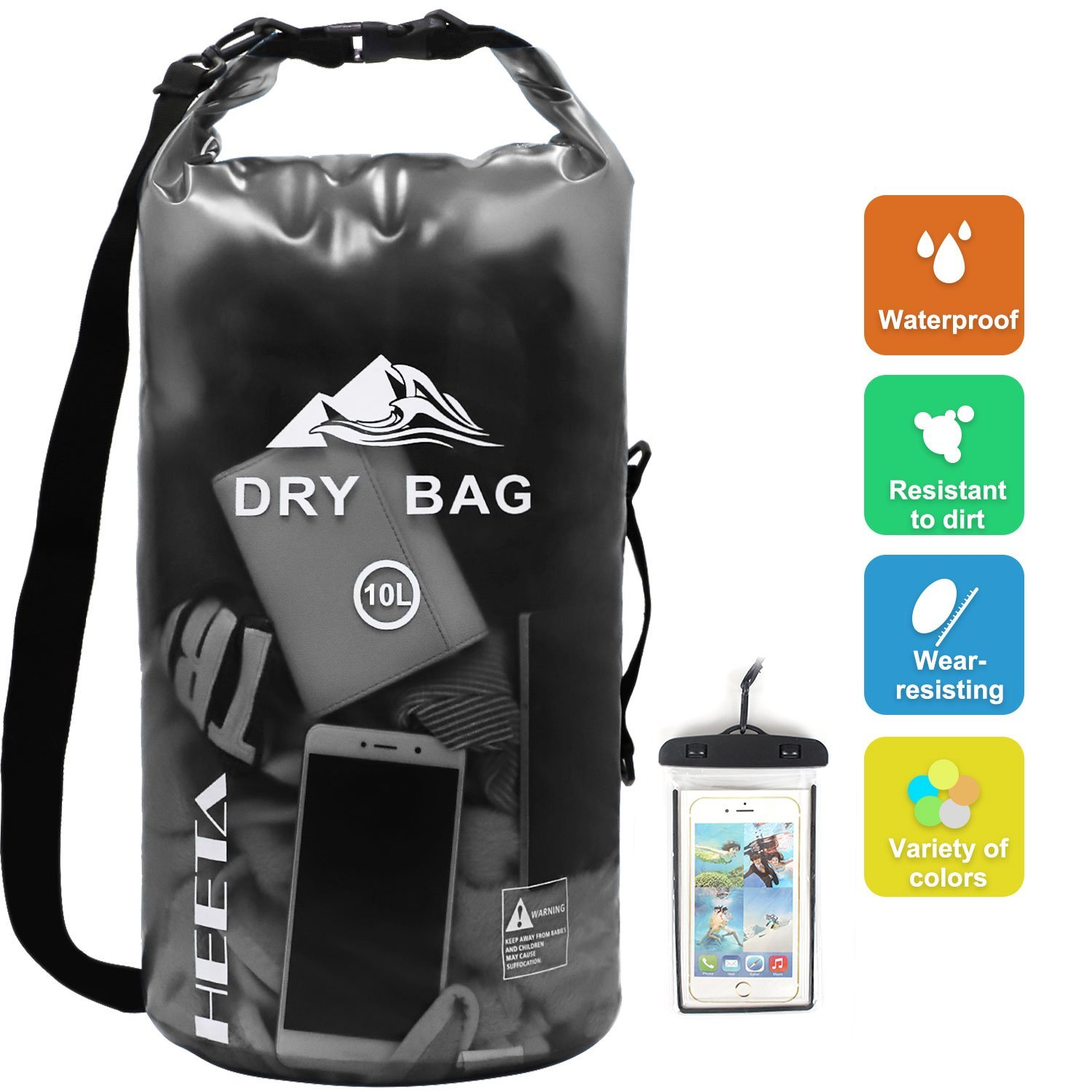 HEETA Waterproof Dry Bag 10L 20L Roll Top Lightweight Floating Sack Keeps Gear Dry for Boating Hiking Kayaking Fishing Camping Swimming Boating and Other Outdoor Activities Transparent
