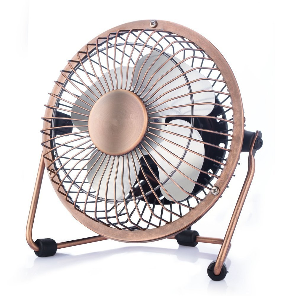 Wsobue Mini USB Personal Fan,Ultra Quite Desk Metal Fan with Enhanced Airflow,360°Rotating,Desktop Small Portable Cooling Fan for Home Office(4 inch-Bronze)