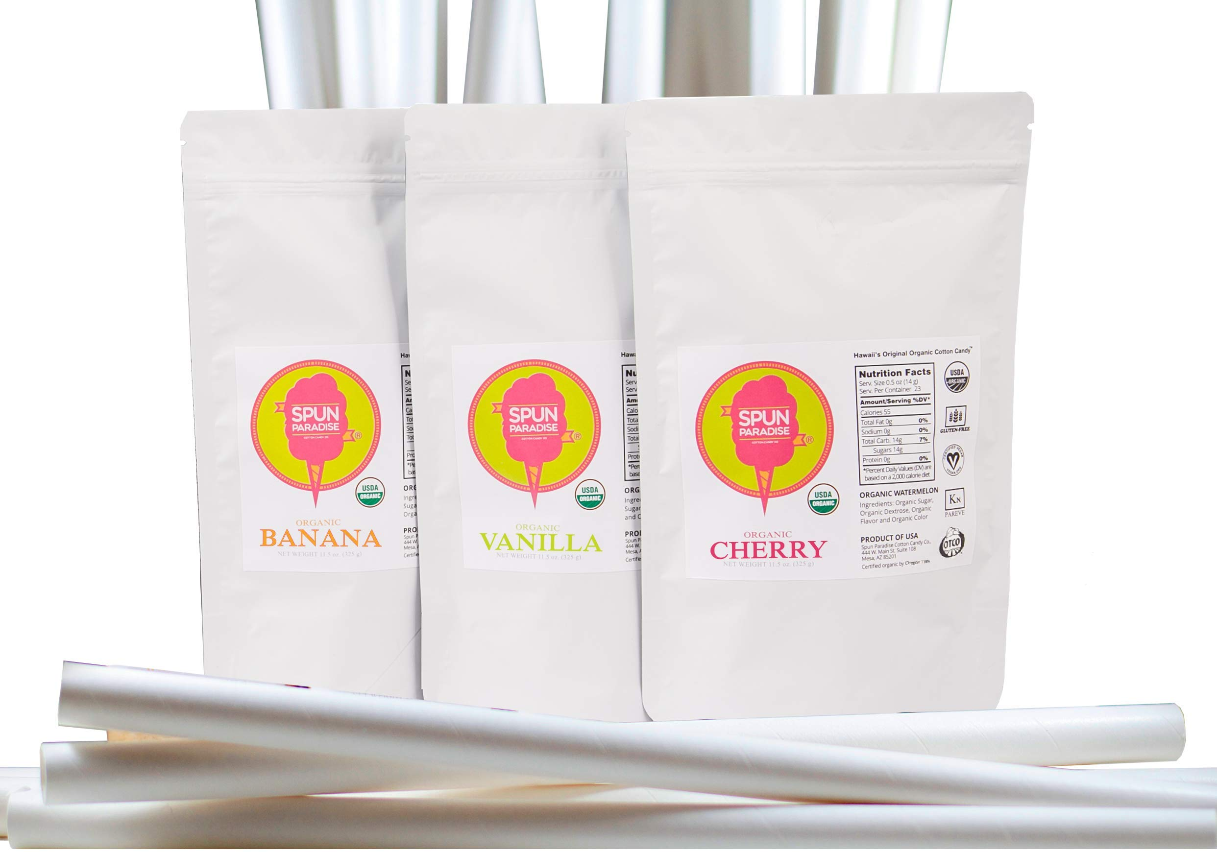 Cotton Candy Sugar Floss, Spun Paradise Certified USDA Organic, Three Delicious Natural & Dye Free Flavors, 12oz Each Cherry, Banana & Vanilla, 69 Servings Total, Includes 23 Cotton Candy Paper Cones,