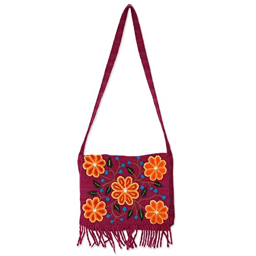 NOVICA Pink Wool Flap Shoulder Bag,  Andean Kaleidoscope   Amazon.ca ... 147b54b4b0