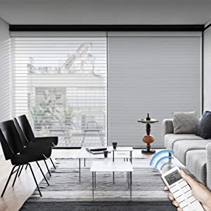 Graywind Motorized Light Filtering Cordless Shangrila Roller Blinds Remote Control Rechargeable Wireless Privacy Sheer Blind with Valance for Smart Home and Office, Customized Size (Grey)