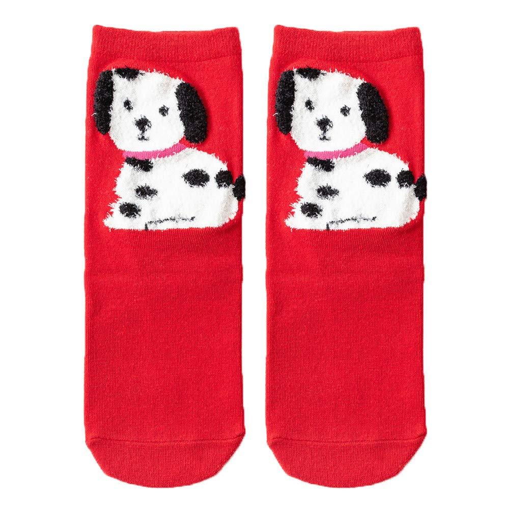 One Size,D Hot Sale!Christmas Printed Socks,Christmas Women Cotton Socks Print Thicker Anti-Slip Floor Socks Carpet Socks
