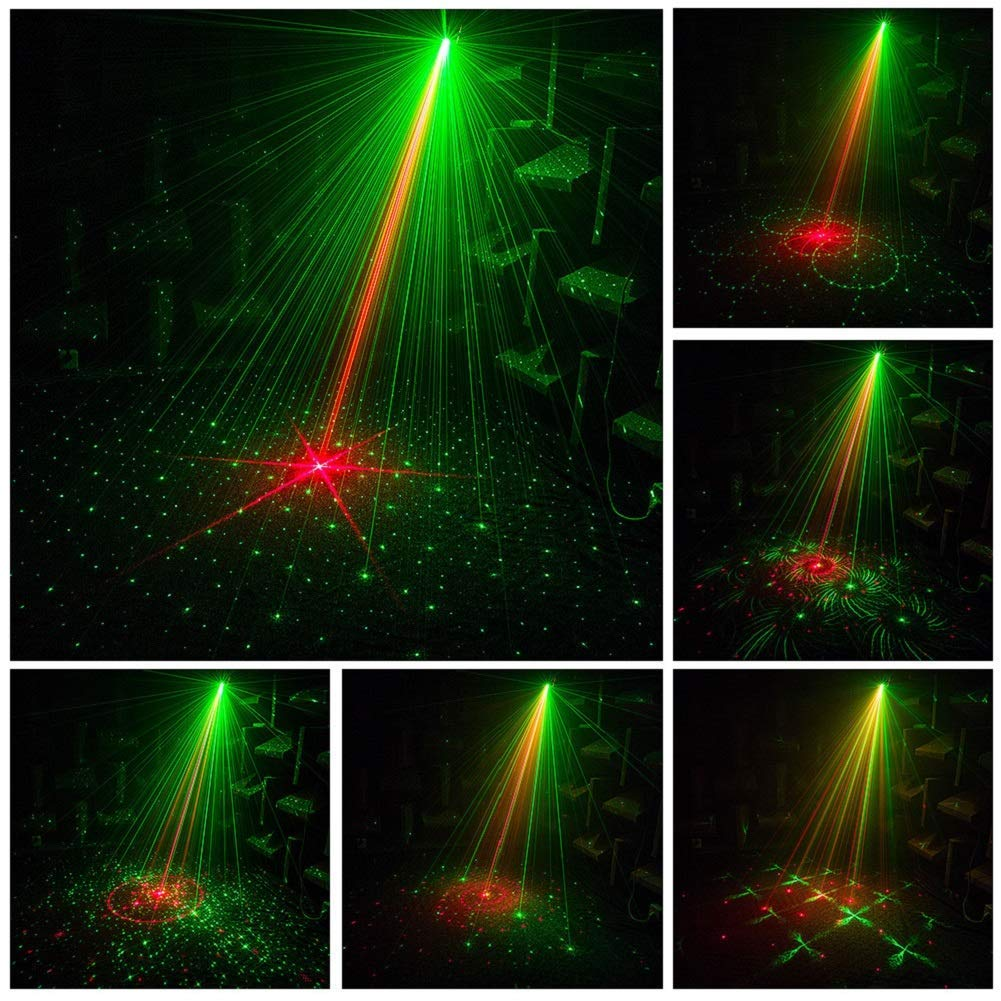 Laser Party Lights U`King RG Stage Lighting Strobe DJ Lights by Sound Activated IR Remote Control LED Projector for Disco Party Birthday Music Show KTV Dancing