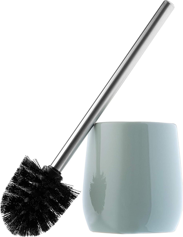 B/ürstengarnitur Klob/ürste f/ür Bad Toilettenb/ürste mit langem Stahlgriff KADAX WC-B/ürste mit Beh/älter aus Keramik WC-Garnitur f/ür eine saubere Toilette stehend grau
