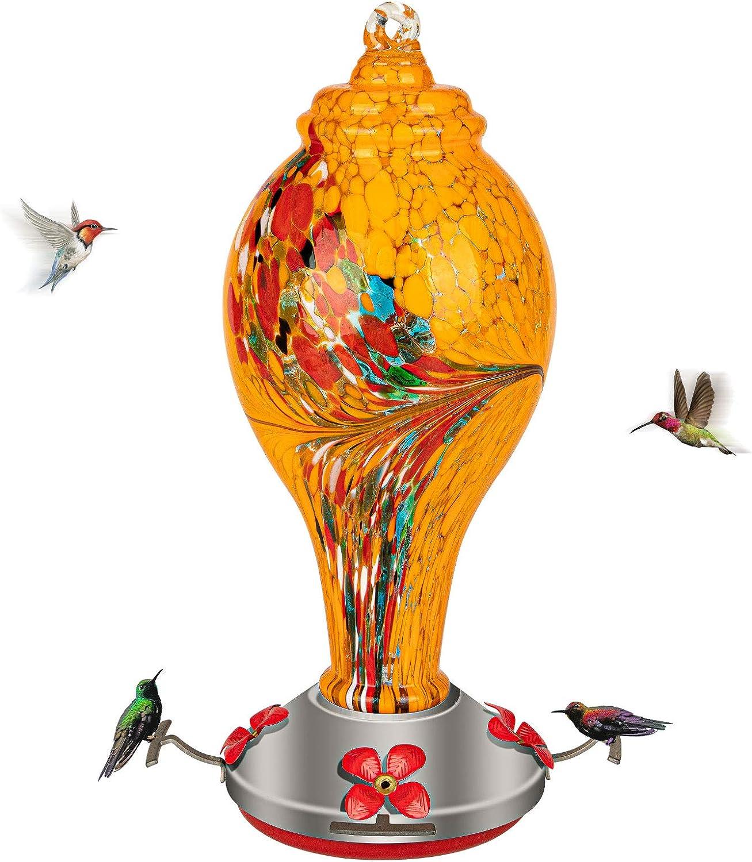 Bebedero Colibri GAISTEN de vidrio soplado a mano (amarillo)