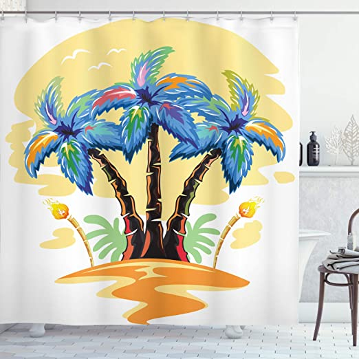 Exotic Palm Tree Shower Curtain Geometry Decor Set with Hooks 4 Sizes Ambesonne