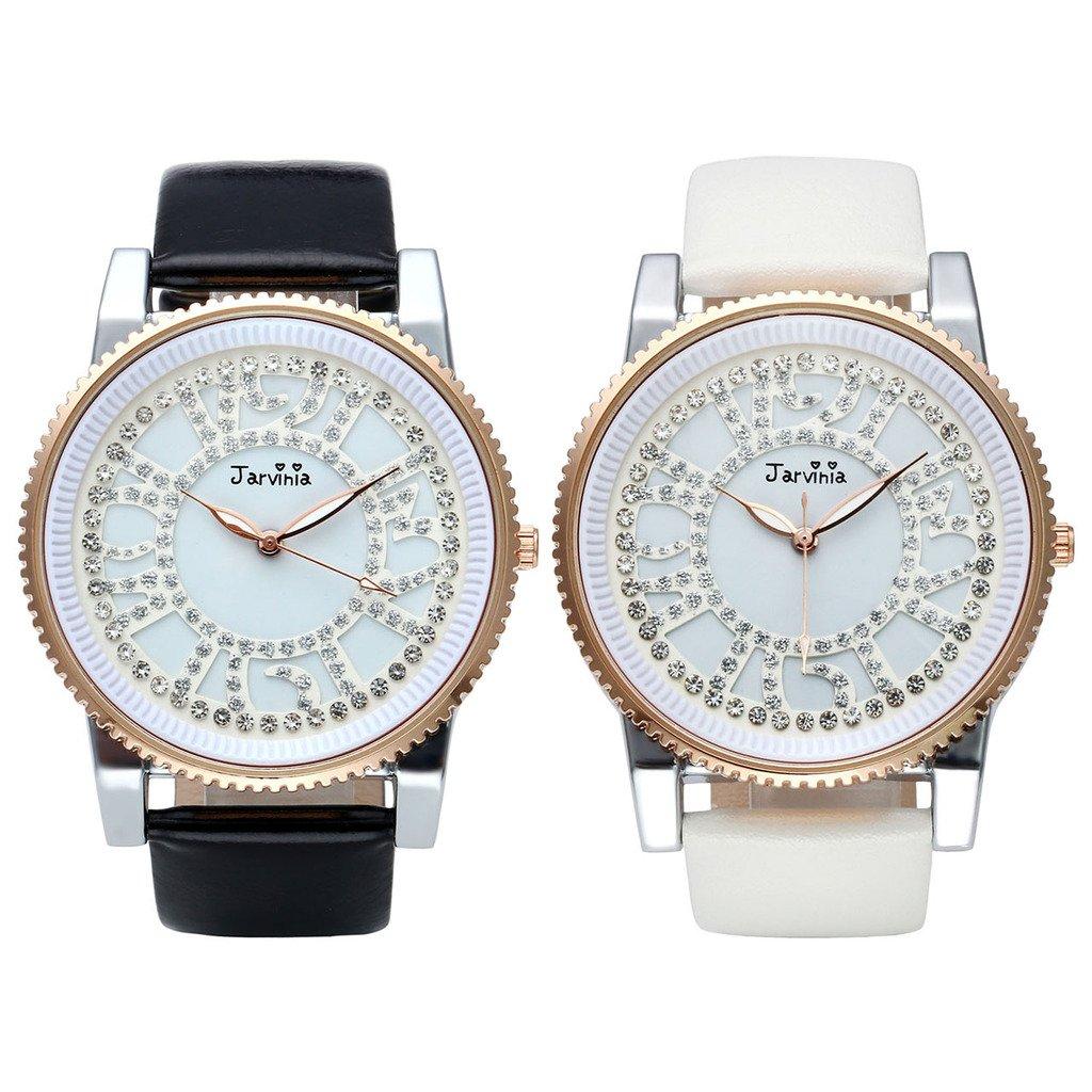 JSDDE Uhren,Elegant Frauen Armbanduhr Strass Ziffern Damen-Armbanduhr Echtleder Armband Analog Qaurzuhr J251,Schwarz