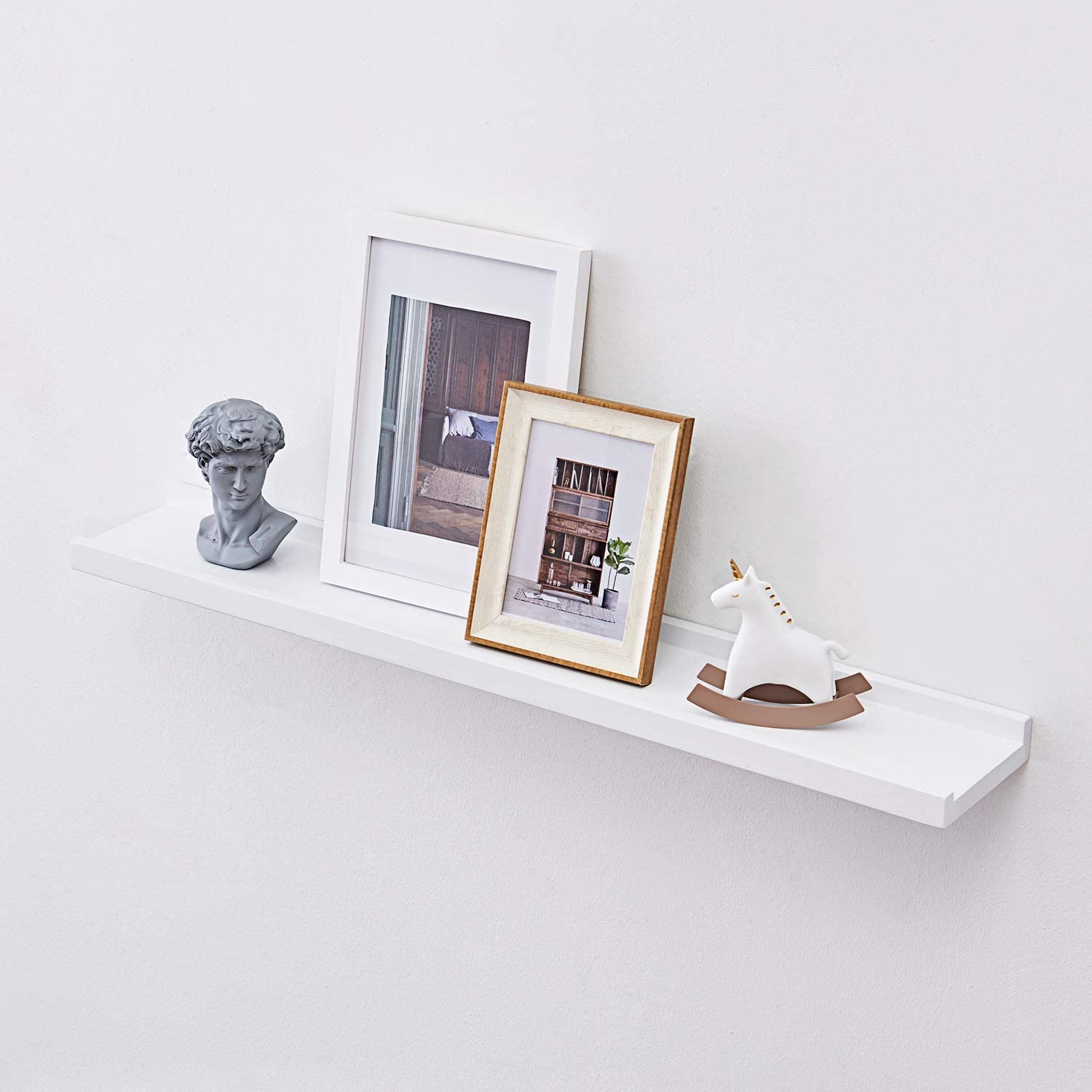 HOMWOO Floating Shelves Oak Solid Wood Wall Bookshelf Picture Ledge for Home, Living Room, Bedroom, Bathroom, Office 1pcs-24inches