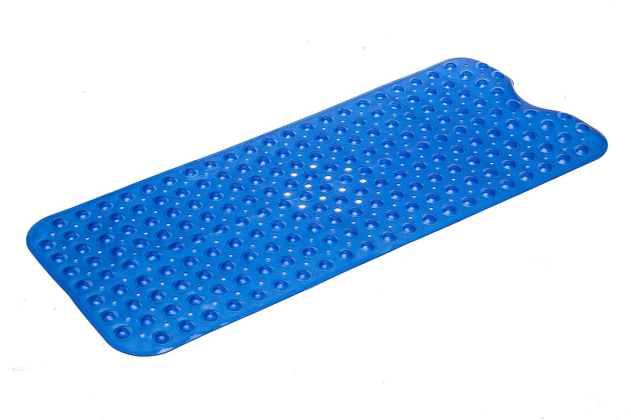 Simple Deluxe Anti-Bacterial Anti-Slip-Resistant Bath Mat, 16'' W x 39'' L, Extra Long, Blue