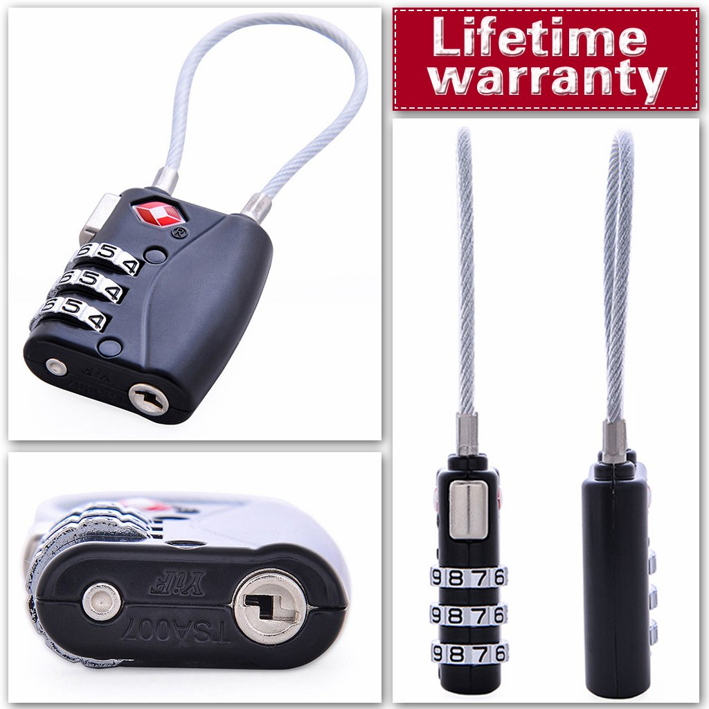 Wandf TSA Luggage Lock 3 Digit Combination Padlock Security, Also for Backpack, Travel Bag, Gym Locker