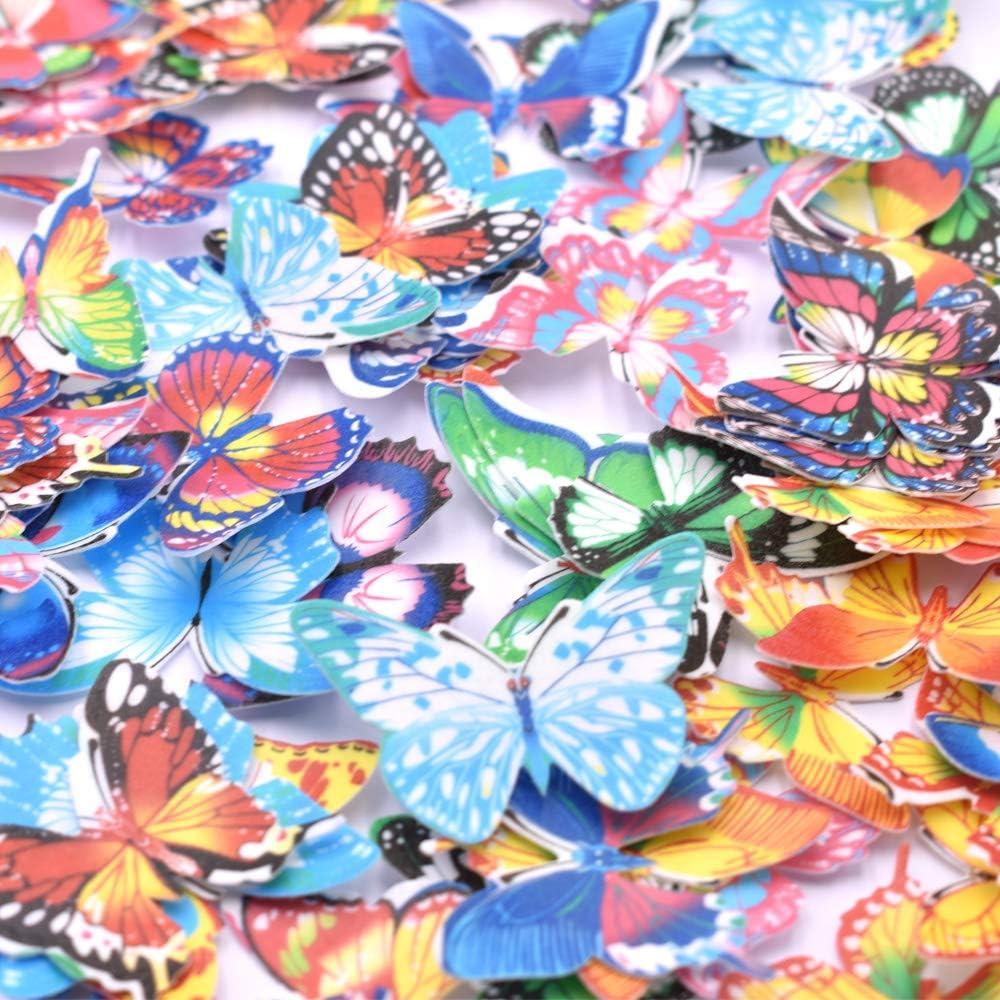 con Scatola di Immagazzinaggio Set di 96 Cialde di Carta Commestibile Farfalla CakeCupcake Toppers Colori Assortiti Decorazione Cibo