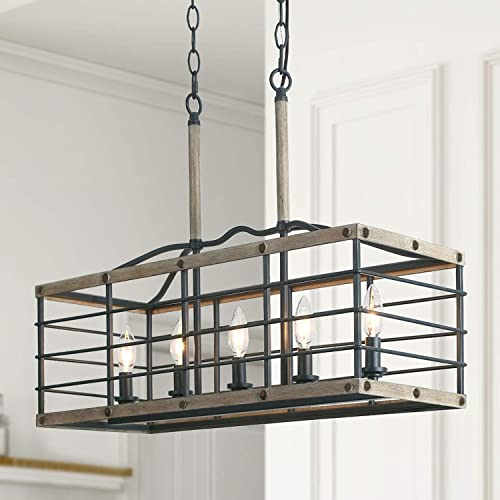 LALUZ Farmhouse Kitchen Island Lighting, Rectangular Chandeliers for Dining Rooms