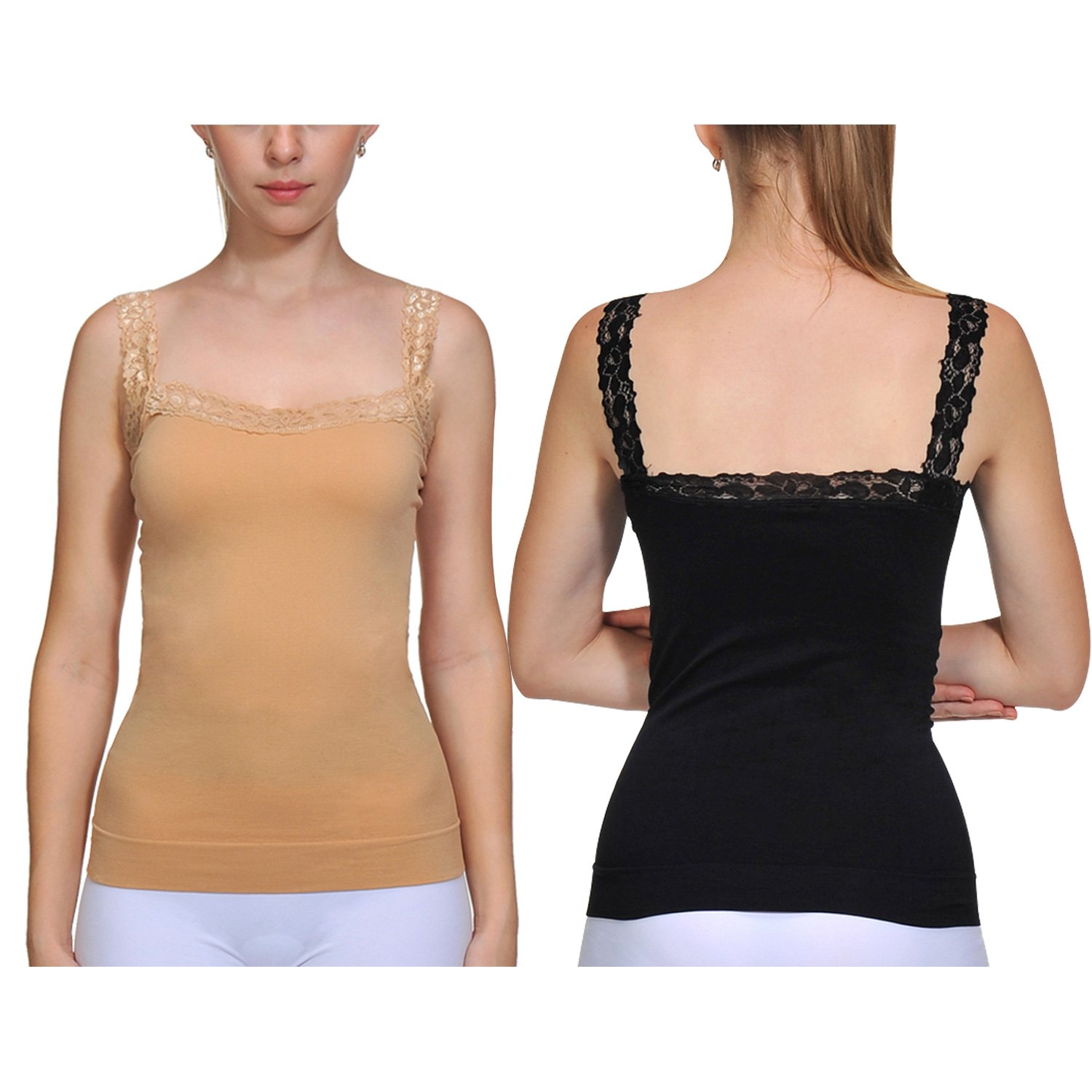 9ff95751ffc75 Top1  BOMIMI Women s Camisole Tank Top Sexy Lace Straps Lingerie Sleep  Lounge Cami Silk Top 2 Pack