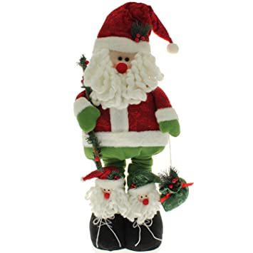 large free standing father christmas santa claus floor decoration with extendable legs height 100cm - Free Standing Christmas Decorations